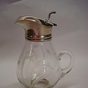 SALE Sterling Silver and Cut Crystal Syrup Pitcher