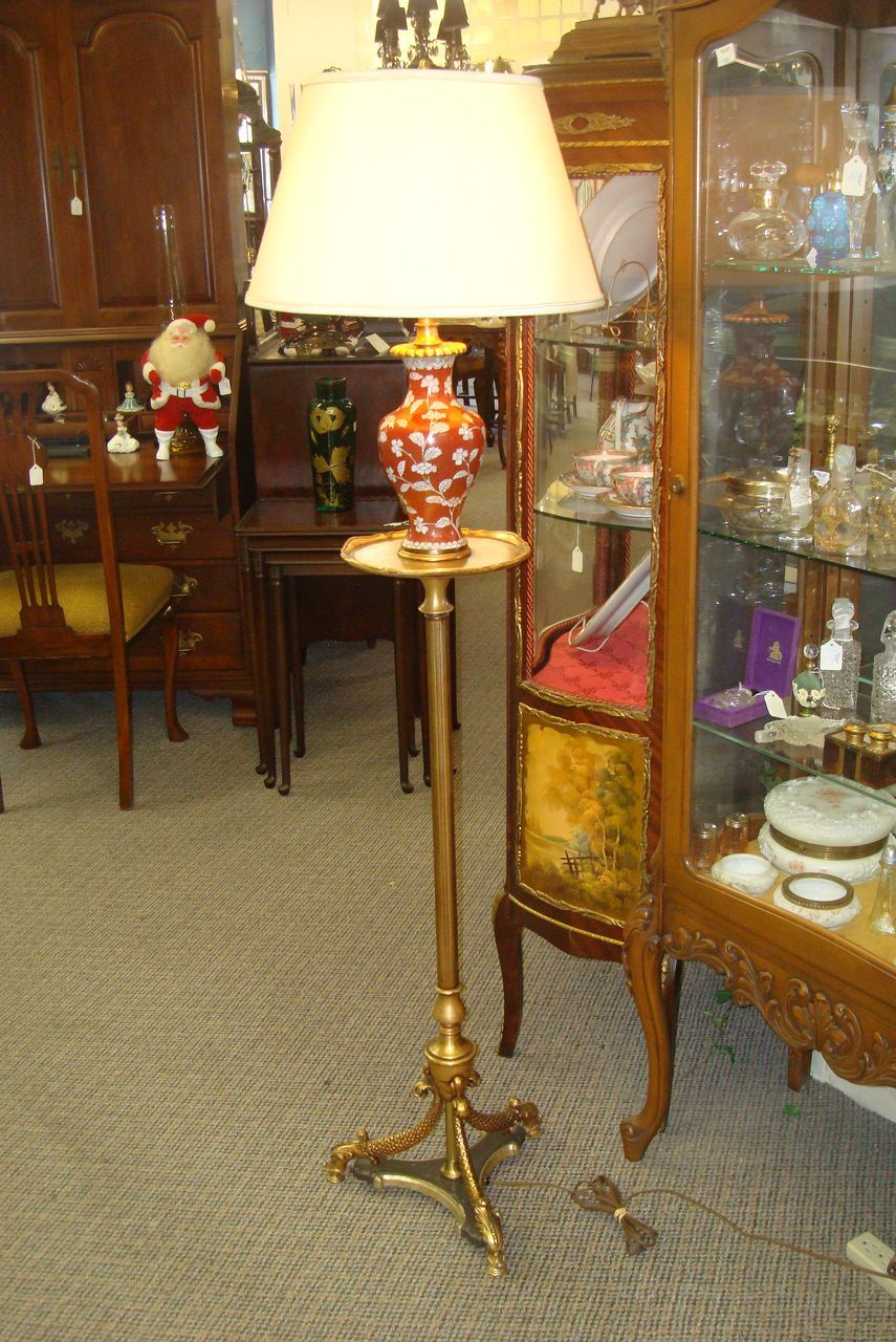 Cloisonne and Brass Floor Lamp -Dolphins-c1930's