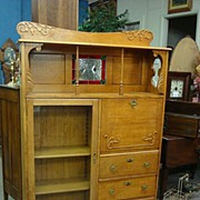 SALE Oak Side by Side Desk - Bookcase-Secretary