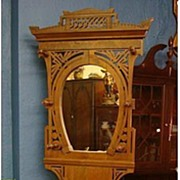SALE Antique Hall Tree - Horseshoe Mirror