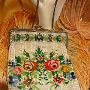 SALE Colorful Vintage Beaded Purse - Needlepoint