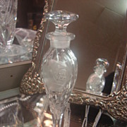 SALE Tall Heavy Cut and Etched Crystal Perfume Bottle