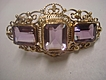 Large Brooch Sash Pin 14k Yellow Gold Amethyst