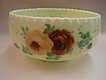 "Old Custard Glass 8"" Bowl- Handpainted Roses"