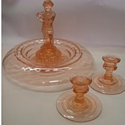 SALE Cambridge Flower Frog plus bowl and candlesticks 4 pc set