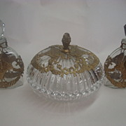SALE Ornate Glass Dresser Set-signed