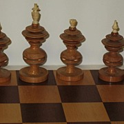 SALE Chess set  Mexico Taraskan Indians carved and turned wood and bone circa 1947