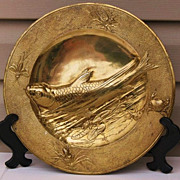 SALE French gilt bronze charger in Japanese style fish in water 12&quot;D