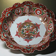 Japanese Imari Arita porcelain bowl Dragon Ho-o bird design 19thC sign