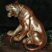 SALE Japanese bronze okimono tiger Meiji period Tokyo school sign