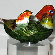 Korean Korea 990 silver enamel cloisonne salt or pepper in form of male mandarin duck sign