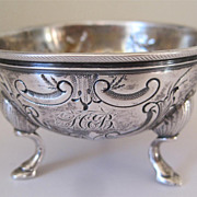 Ornate Sterling Silver Footed Open Salt Cellar or Nut Cup