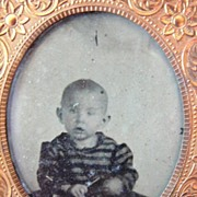 Baby Tin Type Framed Photograph