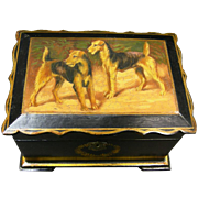 Paper Mache Tea Caddy Airedales