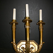 Bronze Pair three light sconces