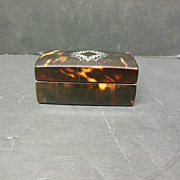 Antique Tortoise Shell Double Stamp Box