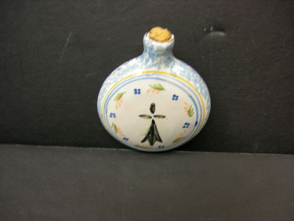French Faience Flask Snuff by Quimper