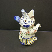 French Faience whimsical standing pig by Desvres