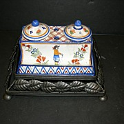 French Double inkstand by Quimper