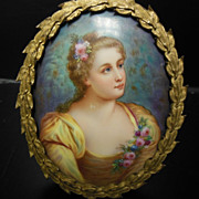 Antique KPM Style Mini Portrait Painting on Porcelain Signed Larabere
