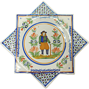 French Faience Quimper Octagonal Plate