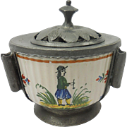 French Quimper & Pewter Inkwell