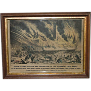 "REDUCED Rare Hand Colored Antique Original 1856 Print Of Destruction Of The Steamboat "" N"