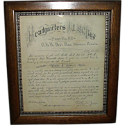 REDUCED Civil War Veteran's G.A.R. Altoona, Pa. Post # 62 Memorial ; Rare Ink Calligraphy Mili