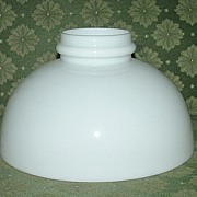 Original 10 inch Antique White Glass Shade with Fire-Finished Smooth Bottom !   Ca. 1910.