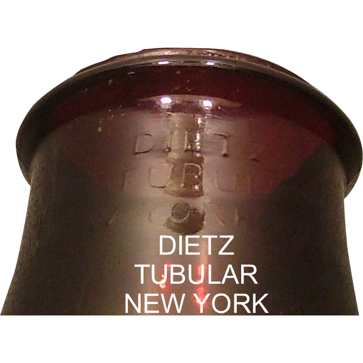 "Rare Colored Pigeon Blood Red ""DIETZ"" not within the 1914 patented oval Lantern Globe !"