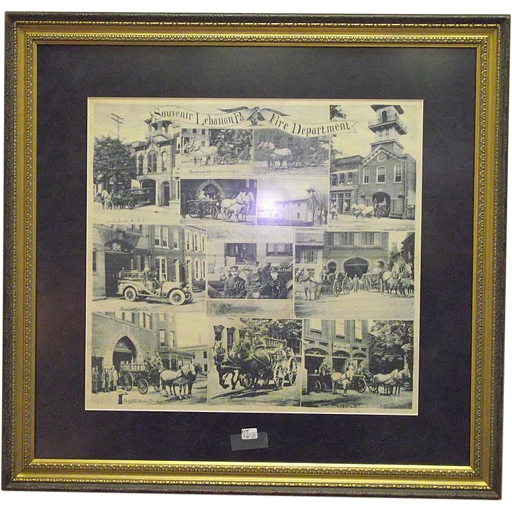 Souvenir Lebanon,Pa. City Fire Department Framed Handkerchief Circa 1900 !