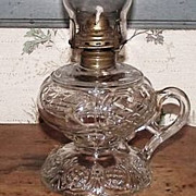 """Prince Edward"" Pattern Footed Finger Oil Lamp !   Ca. 1890 ."