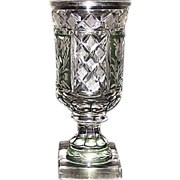 REDUCED Superior Blown Glass Goblet, Flashed & Stained Green, & Cut to Clear Floral Panels and