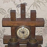 REDUCED Miniature Mission Oak Clock with brass lined Double Match Holder Bins !  Patent Dated