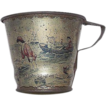 "Early Tin Lithographed ""Victorian Beach Scene"" on a Child's Beach or Sand Cup !  Ca. 1890."