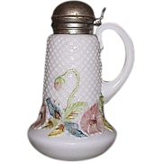 "Mint ""Diamond Quilted White Glass Syrup Dispenser"" with a Pastel Colored Floral Bord"