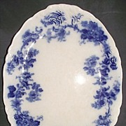 "REDUCED Deep ""Blue Transfer"" Decorated & Raised Scroll Pattern Oval Platter 12 1/2 L"
