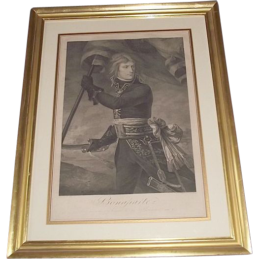 Authentic 1796 Engraved Print of &quot;Napoleon Bonaparte on the Arcole Bridge Nov.17,1796&quot; by Master Engraver Joseph (Giuseppe) Longhi !!!