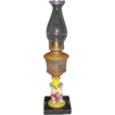 Rare Figural Stem Oil Lamp with Frosted & Engraved Fount with Burner & Pie Crust Chimney !  Ca. 1870's.