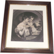 Original &quot;Mother & Daughter&quot; Engraved Print in Walnut Frame with inside Gold Border !