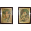 Pair Matching Victorian Frames with Original Prints 10 inches Wide by 14 inches High !   Ca. 1880's