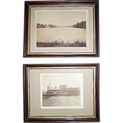 "REDUCED Pair of Framed ""Cornwall & Lebanon Railroad"" Sepia Photos, # 6 Locomotive an"