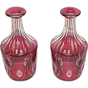 "REDUCED Pair of  Matching ""Cranberry Cased &  Cut to Clear"" Glass Decanters !!!  Ca."