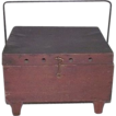 Primitive Red Stained Wood &quot;Foot Warmer&quot; Exterior, with Tinsmith Fitted &quot;Whale Oil Burner&quot; Interior !!!  Circa  Mid-19th Century.