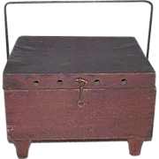 "REDUCED Primitive Red Stained Wood ""Foot Warmer"" Exterior, with Tinsmith Fitted """
