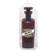 "Amber Glass Drug Store Bottle with Glass Label ""AQ.ROS."" Rose Water in Mint Conditio"