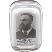 "Founder of Bicycle Manufacturing ""Col. Albert A. Pope"" Paperweight Produced by Barne"