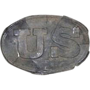 "Civil War Period Excavated  Relic ""US Belt Buckle"" die stamped front & marked found"