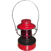 REDUCED Road Lantern &quot;Consolidated Edison System&quot; with Red Globe made by Handlan St.