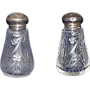 REDUCED Early Engraved Blown / Molded Glass Lead Crystal Salt & Pepper Shakers with Sterling .
